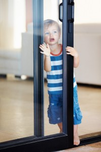 child-sliding glass door